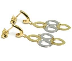 Boucles D'Oreilles Pendantes or Jaune et Blanc 750 18k,Ovales Lisses,Articulé image 2