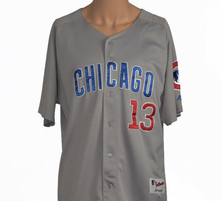 Chicago Cubs #13 Men's Sz 48 Short Sleeve Button Front MLB Baseball Jersey image 1