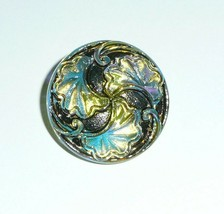 """Antiqued Finish Czech Glass Shank Button Silver Accents 15/16"""" Floral Fl... - $7.49"""