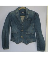 Marc Jacobs Cropped Blue Denim Jacket Retro Puff Sleeves 10 - $49.00