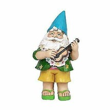 Hawaii Themed Vacation Fairy Garden Papa Gnome Playing Ukulele Statue Gn... - $22.00