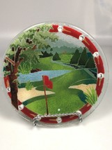PEGGY KARR GLASS Golf Course plate dish gift for golfer birthday gift - $45.43