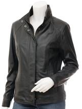 QASTAN Women's New Fashioned Versatile Black Sheep Leather Jacket QWJ14A - $149.00+