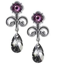 Regiis Martyris Nine Days Queen Earrings Pair Purple Crystal Alchemy Gothic E420 - $41.95