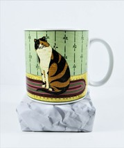 Warren Kimble Coffee Mug Cup Cat Collection Calico Sakura 2000 Oneida Stoneware - $25.25