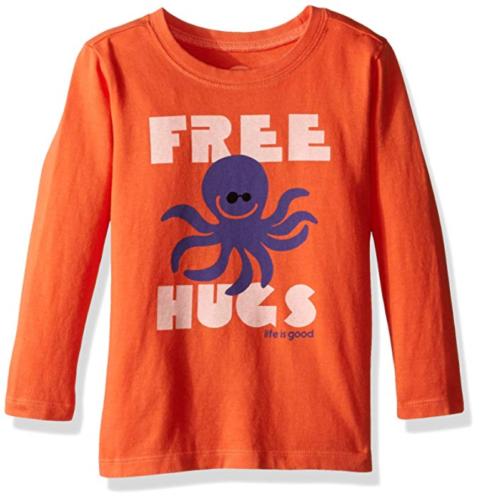 2T Toddler Boy's Life is Good Tee T-Shirt Long Sleeve Shirt Octopus Free Hugs