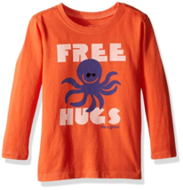 2T Toddler Boy's Life is Good Tee T-Shirt Long Sleeve Shirt Octopus Free Hugs