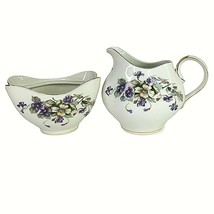 Meito Norleans ADELE Sugar Bowl & Creamer Purple Yellow Violets Occupied... - $29.65