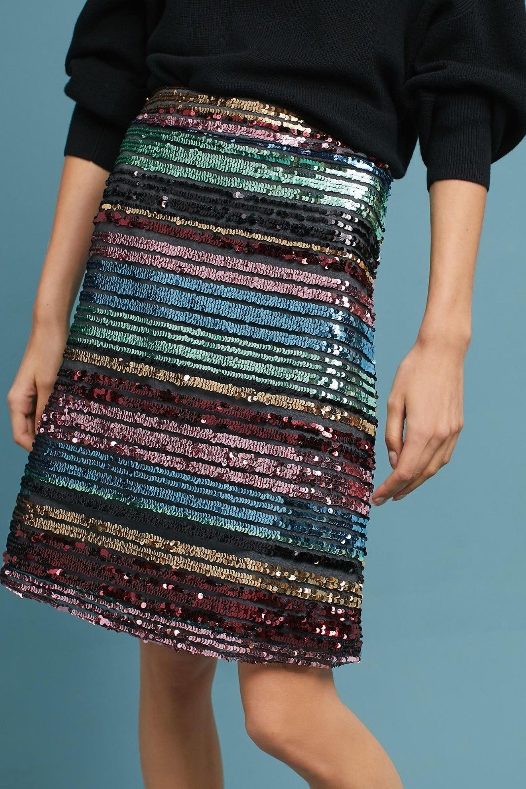4f6bdc30486f NWT ANTHROPOLOGIE SEQUINED SOIREE STRIPED SKIRT by MOULINETTE SOEURS