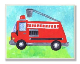 The Kids Room by Stupell Fire Truck with Extension Ladder Rectangle Wall... - $33.78