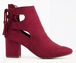Brand New Women's Hot Kiss Nelly Back Lace Up w Tassels Burgundy Ankle Boots 6US
