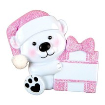 Baby Bear Hold Presen Pink Personalized Christmas Ornament - $14.95