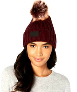Under Armour Womens Snowcrest Pom Pom Beanie Hat Dark Maroon OSFA NWT - £14.66 GBP