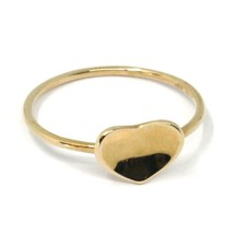 SOLID 18K ROSE GOLD HEART RING, ONDULATE, BENT SMOOTH HEART, MADE IN ITALY image 1