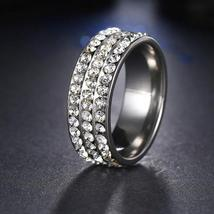 Personalized Engraved Stainless Steel 8mm Pave Set Luxury CZ Eternity Anniversar image 1