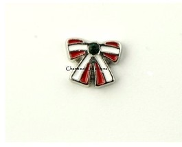 10pc Red & White Bow Green Crystal Christmas Holiday For Floating Charm Lockets - $8.90