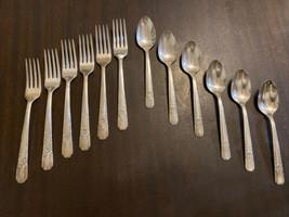 12 Piece Carlton 1938 La Rose Silverplate MIXED LOT Teaspoon Dinner Fork... - $27.82