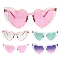 Womens Glitter Lens Heart Shape Plastic Valentine Cat Eye Sunglasses - $9.95