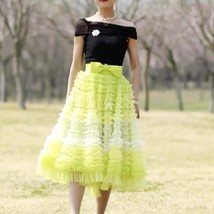 Yellow Midi Layered Tulle Skirt High Waisted Princess Tulle Skirt Holiday Outfit image 4