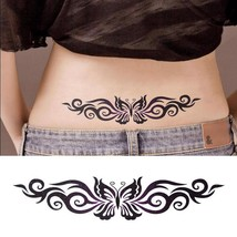 FASHION Sexy Beautiful Black Butterfly Waist Waterproof Temporary Tattoo - $1.99