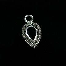 Vintage 925 Sterling Silver Signed SU Black Onyx Marcacite Teardrop Pend... - $17.99