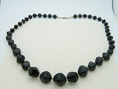 Primary image for VTG AVON Signed Gold Tone Black Plastic Abstract Beaded Choker Necklace