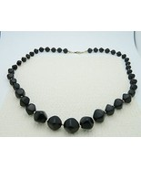 VTG AVON Signed Gold Tone Black Plastic Abstract Beaded Choker Necklace - $19.80