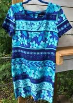 Vtg Tropical Aqua Hibiscus Women's Sz.14 Sheath Dress Business Casual Bl... - $21.93