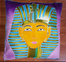 New Handpainted Egyptian King Tut 23X23 Inch Cotton Pillow Cover Bali - $23.38