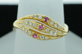 Art Deco Style M (c) 18K Yellow Gold Diamond and Ruby Ring (Size 6.75) - $285.00