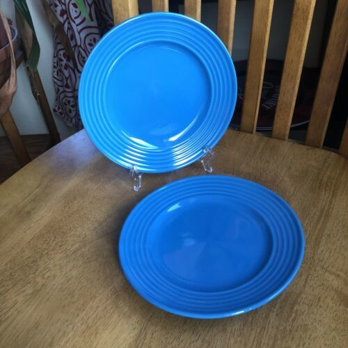 "ROYAL NORFOLK Blue Embossed Rings 7.5"" Salad Dessert Plates Set Of 2 NWT - $13.86"