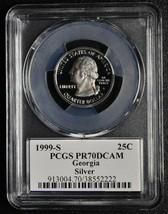 1999S 25¢ Georgia SILVER State Quarter Proof PCGS PR70DCAM Coin SKU C90