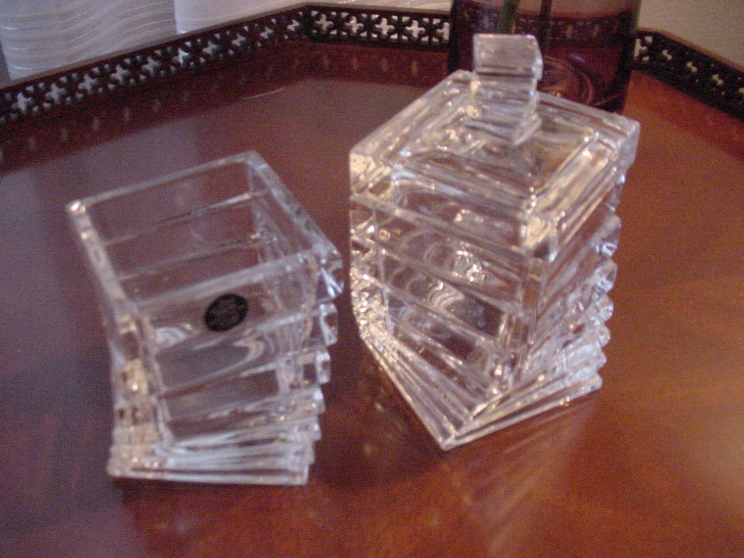Rosenthal Studio-Linie Crystal Twisted, Stepped Jars, 2, One Covered