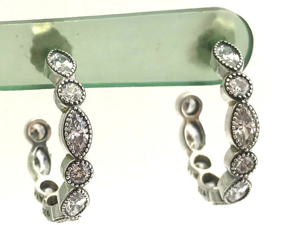 Authentic Pandora Alluring Brilliant Marquise Hoop Earrings 290724CZ, New - $76.98