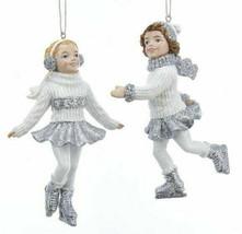 KURT ADLER SET OF 2 SILVER & WHITE GLITTERED ICE SKATER GIRLS XMAS ORNAM... - $18.88