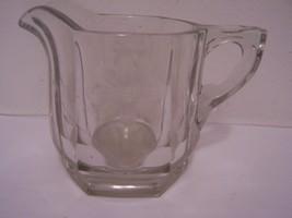 Creamer Cream Pitcher Vintage Heavy Glass Etched Flower Design Dinnerware  - $19.78