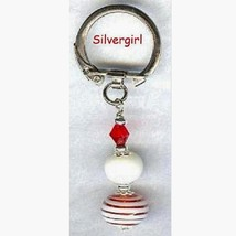 Key Rings With Pretty Lampwork Beads Red/White - $8.99