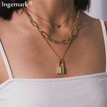 Ingemark Multi Layer Lover Lock Pendant Choker Necklace Steampunk Padlock Heart - $16.97+