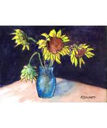 ACEO Original Painting Vase of Sunflowers floral still life blue yellow - $16.00