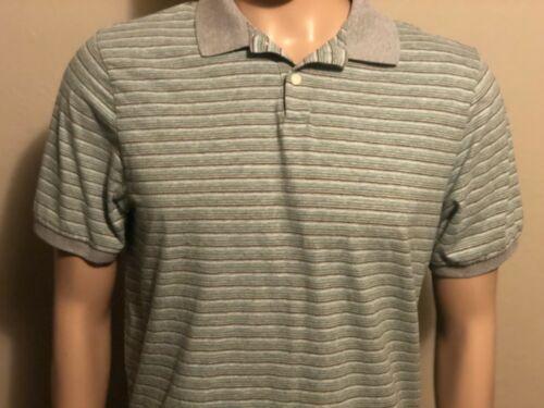 Men's Patagonia Green Gray Teal Black Striped Short Sleeve Polo Shirt Medium