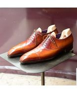Handmade Men's Tan Leather Oxfords Formal Shoes, Custom Made Dress Shoes - $179.99+