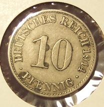 KM# 12 1914-A Germany 10 Pfennig #0922 - $1.59