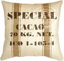 Pillow Decor - Cacao Bean Brown Print Throw Pillow - £53.59 GBP