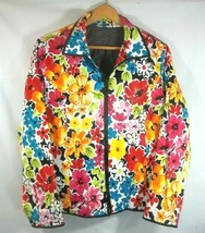 Laura Ashley Floral Zip Front Jacket XL Lined - $19.75