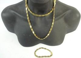 Vintage 1980s Monet Gold Tone Flat Double S Link Chain necklace & Bracel... - $21.94