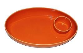 2-Pc Large Crate & Barrel Salmon Orange Oval Chip & Dip Bowl Portugal UN... - €36,45 EUR