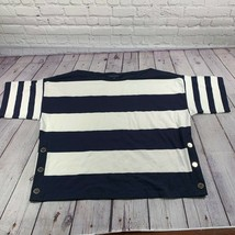 Tommy Hilfiger Women's Navy White Striped Boat Neck Blouse Size Large - $17.34