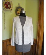 Women's BOB MACKIE Sweater Ivory (8) Long Sleeve Embelished With Pears &... - $22.50