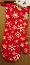"""Oversized Fabric Printed Kitchen 14.5"""" Oven Mitt, WINTER SNOWFLAKES on RED - $8.90"""