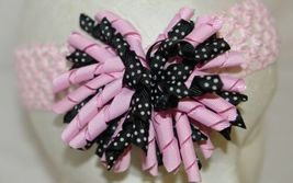 Unbranded Girl Infant Toddler Headband Removable HairBow Curly Pink Black White image 3